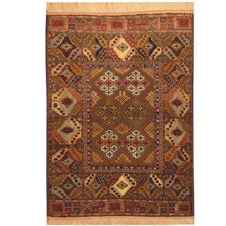 Herat Oriental Afghan Hand-knotted Turkoman Silk Rug (4' x 5'5)
