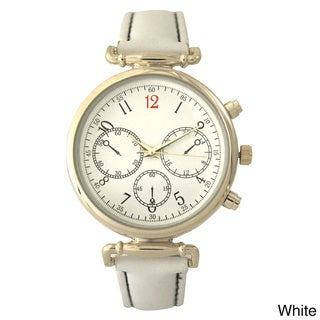 Olivia Pratt Women's Antique Style Stainless Steel Leather Band 3-dial Quartz Watch