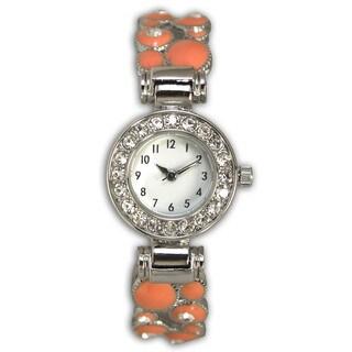 Olivia Pratt Rhinestone Colorful Bubble Metal Bangle Watch