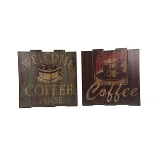 FireFly Multicolored Wood Coffee Wall Decor (Set of 2)