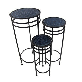 FireFly Black with Blue Mosaic Metal 19.75-/23.5-/27.5-inch 3-piece Plant Stand Set