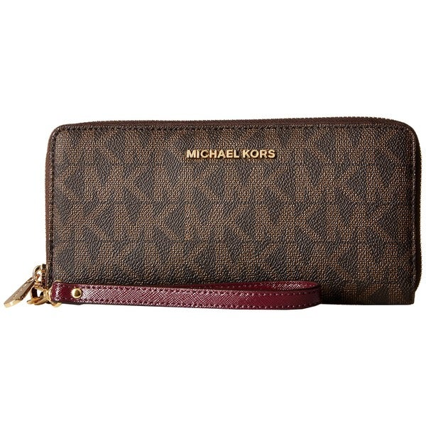 db90266d8dd0 Shop Michael Kors Jet Set Brown and Plum PVC Continental Wallet ...