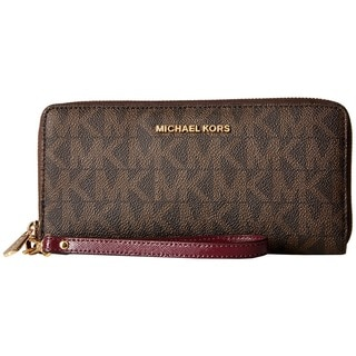 Michael Kors Jet Set Brown and Plum PVC Continental Wallet