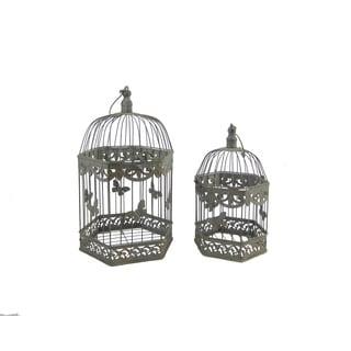FireFly Green Metal Garden Bird Cages (Set of 2)