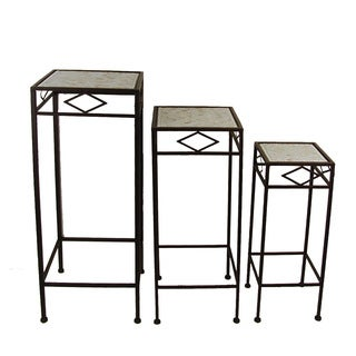 FireFly Square Brown Metal Plant Stands with White Mosaic Tile