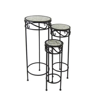 FireFly Brown Metal with White Mosaic 19.75-/23.5-/27.5-inch 3-piece Round Plant Stand Set