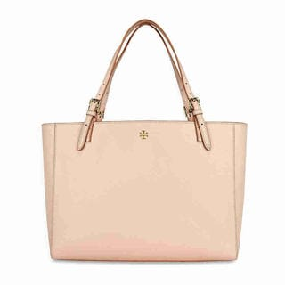 Tory Burch York Light Oak Beige/Gold Saffiano Leather Tote Bag