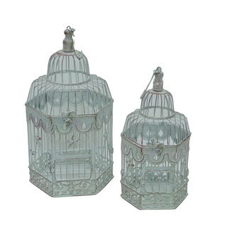 Firefly White Metal 19.25-inch Birdcage (Set of 2)
