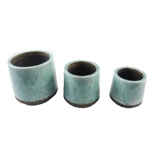 FireFly Blue and Brown Ceramic 7-inch, 6-inch, and 5-inch Round Pots