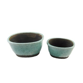 FireFly Aqua Blue and Brown Ceramic 6-inch and 4-inch Oval Pots (Set of 2)