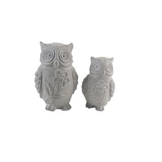 Firefly Grey Ceramic/Stone 5-inch x 5-inch x 7.75-inch Owls (Set of 2)