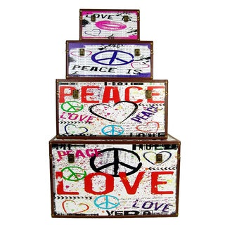 FireFly Peace Love Wooden Boxes Pack of 4 ,9/10/13/17