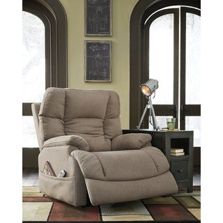 Signature Design by Ashley Fourche Latte Power Recliner with Adjustable Headrest
