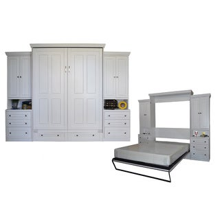 Queen Devonshire Murphy Bed with Two Pier Cabinets in Antique White
