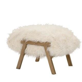 Turner White Fur Ottoman