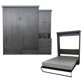 Queen Devonshire Murphy Bed with One Pier Cabinet in Pearl Grey
