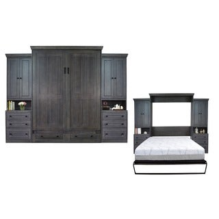 Queen Devonshire Murphy Bed with Two Pier Cabinets in Pearl Grey