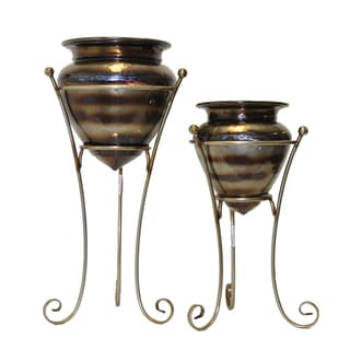 FireFly Gold Rust Metal Plant Holders (Set of 2)