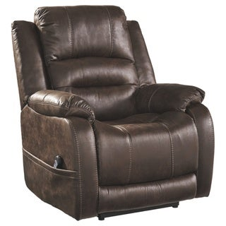 Signature Design by Ashley Barling Walnut Power Recliner with Adjustable Headrest