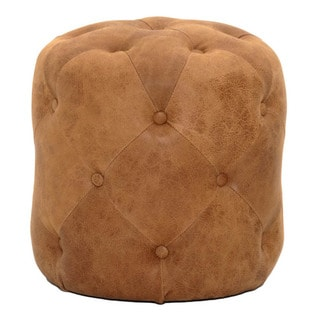 Gray Manor Kendall Chestnut Brown Leather Ottoman