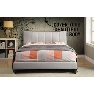 Rimo Textured Linen-look Upholstered Queen-Size Platform Bed