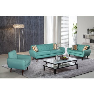 Alayna 3 Pc Linen Modern Living Room Sofa Set