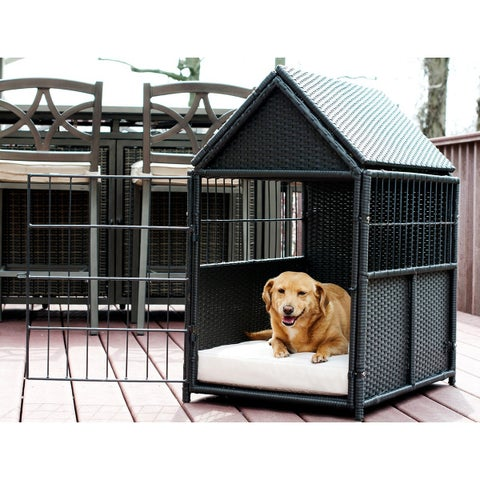 Rattan Pet Crate with Storage - Indoor/Outdoor - N/A