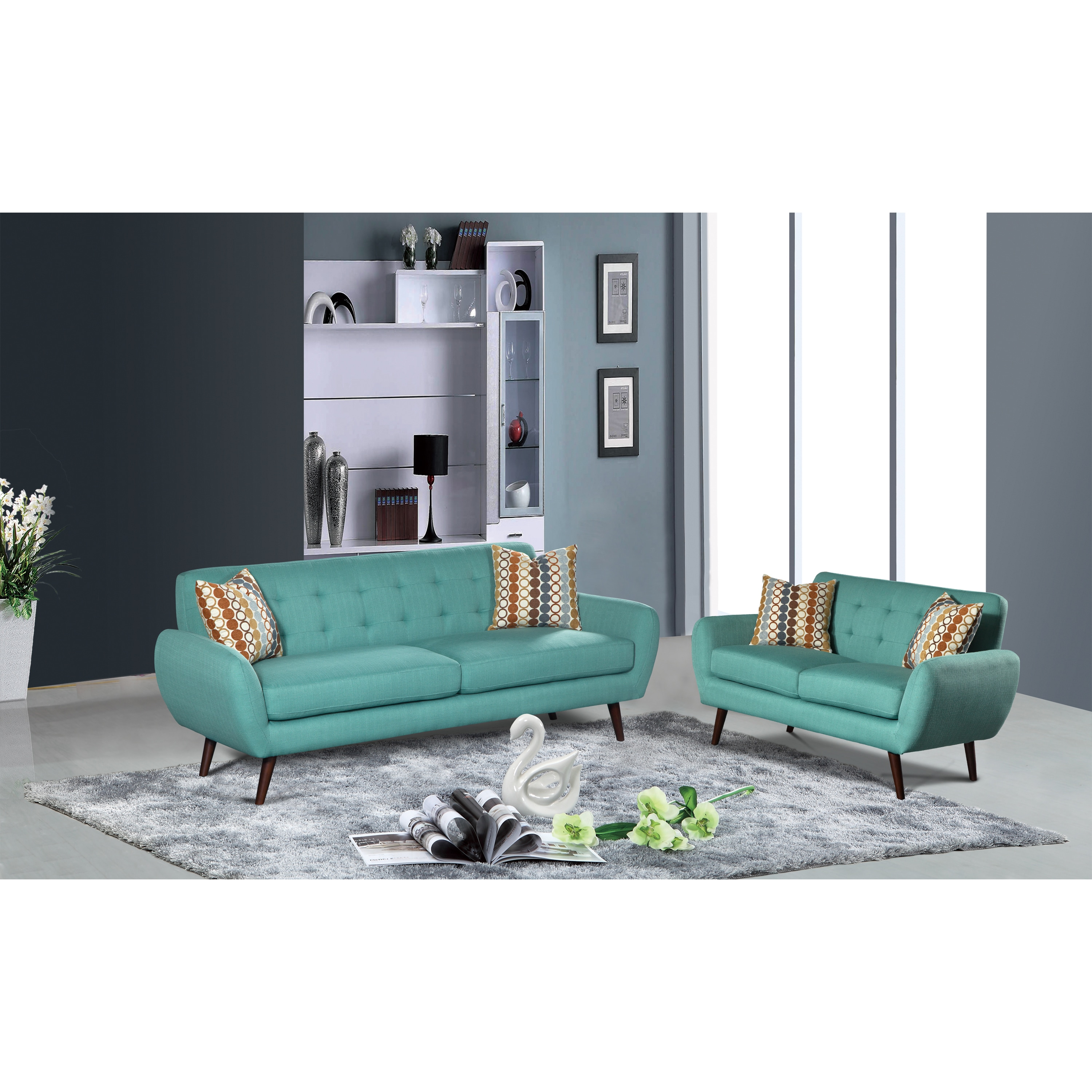 Pleasant Alayna 2 Pc Linen Mid Century Living Room Sofa Set Inzonedesignstudio Interior Chair Design Inzonedesignstudiocom