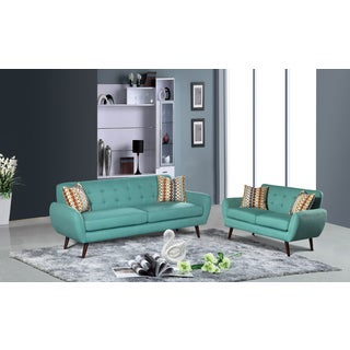 Alayna 2 pc Linen Mid Century Living Room Sofa set