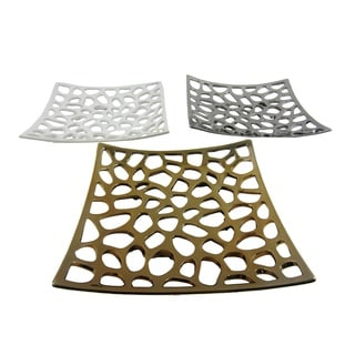 FireFly Silver, Bronze, and White Squared Ceramic Plates (Pack of 3)