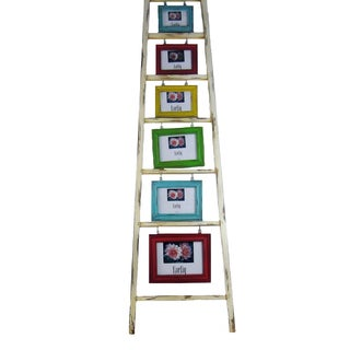 FireFly Multicolored Wooden Ladder With 6 Picture insert Frames