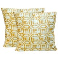 Gold/White Polyester Art Deco Throw Pillow Pair (Set of 2)