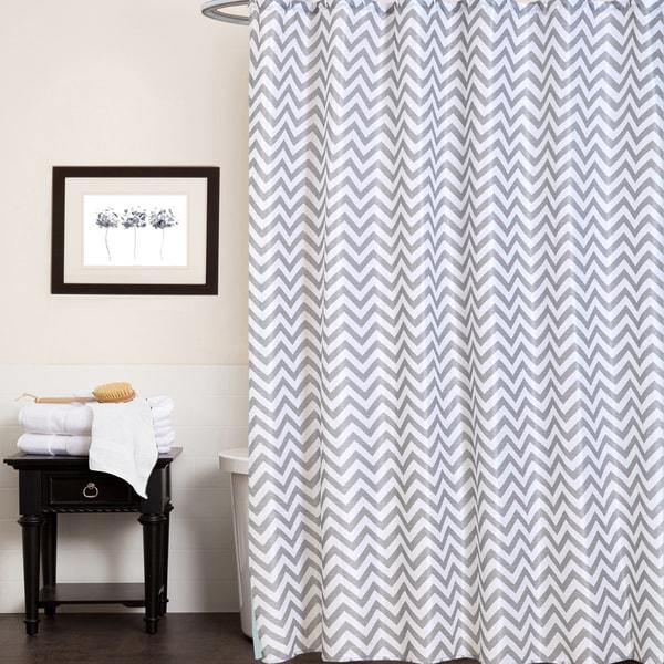 "Fabric Shower Curtain With Chevron Stripe Print (70""x70"")"