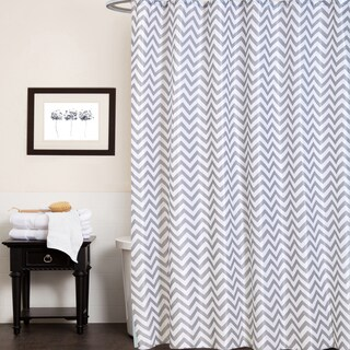 "Fabric Shower Curtain With Chevron Stripe Print (70""x70"")"
