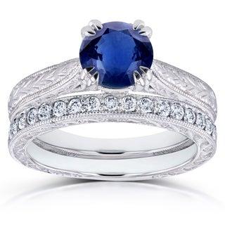 Annello by Kobelli 14k White Gold Sapphire and 1/3ct TDW Diamond Antique Engraved Bridal Rings Set (G-H, I1-I2)