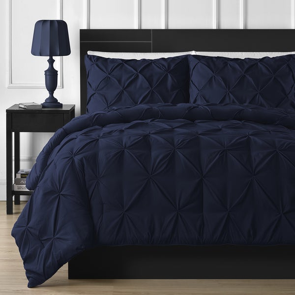 Comfy Bedding Durable Stitching 3-piece Pinch Pleated Comforter