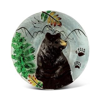 8-Inch Clear Circle Plate Black Bear Glass Decor