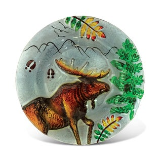 8-Inch Clear Circle Plate Moose Glass Decor