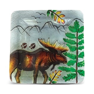 8-Inch Clear Square Plate Moose Glass Decor
