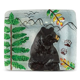 7-Inch Clear Rectangle Plate Black Bear Glass Decor