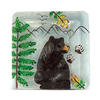 8-Inch Clear Square Plate Black Bear Glass Decor