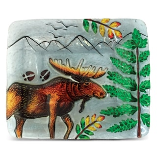 7-Inch Clear Rectangle Plate Moose Glass Decor