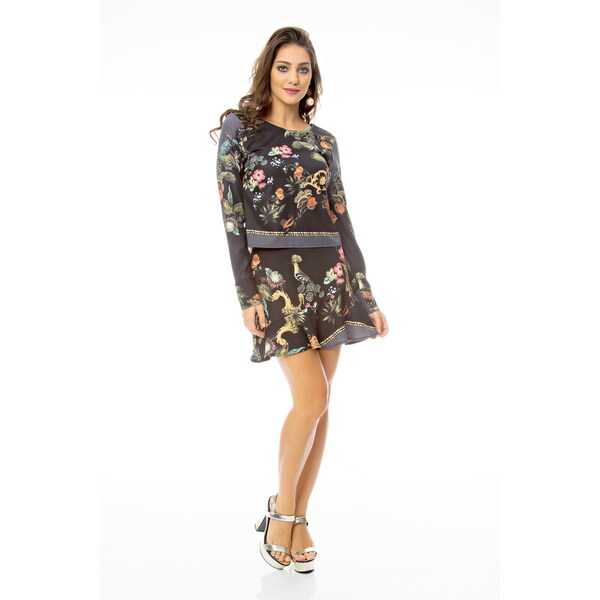 Sara Boo Black Polyester/Spandex Floral Skirt