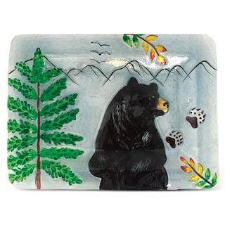 12-Inch Clear Rectangle Plate Black Bear Glass Decor