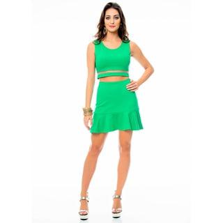 Sara Boo Women's Green Sheer Mesh Crop Top and High-waist Skirt Set
