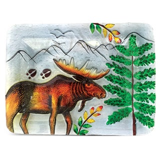 12-Inch Clear Rectangle Plate Moose Glass Decor