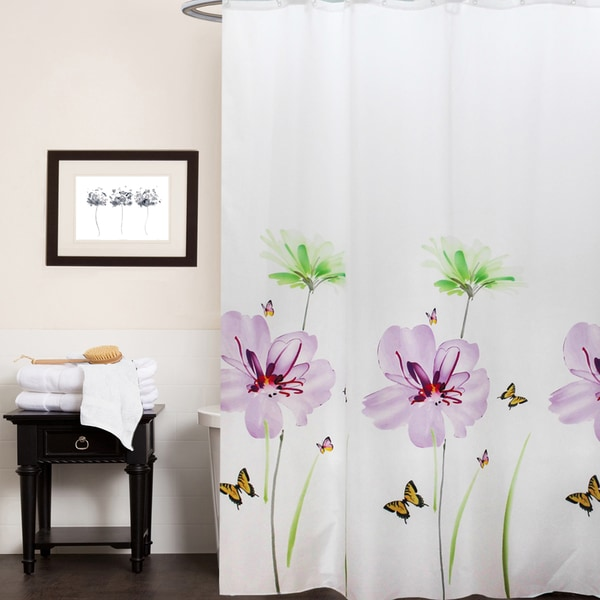 """Fabric Shower Curtain With Floral Print (70""""x70"""")"""