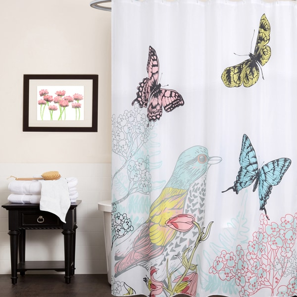 Fabric Shower Curtain With Colorful Bird And Butterfly Print