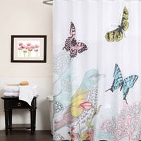 "Fabric Shower Curtain With Colorful Bird And Butterfly Print (70""x70"")"