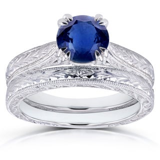 Annello by Kobelli 14k White Gold Sapphire and Diamond Accent Antique Engraved Bridal Rings Set (G-H, I1-I2)